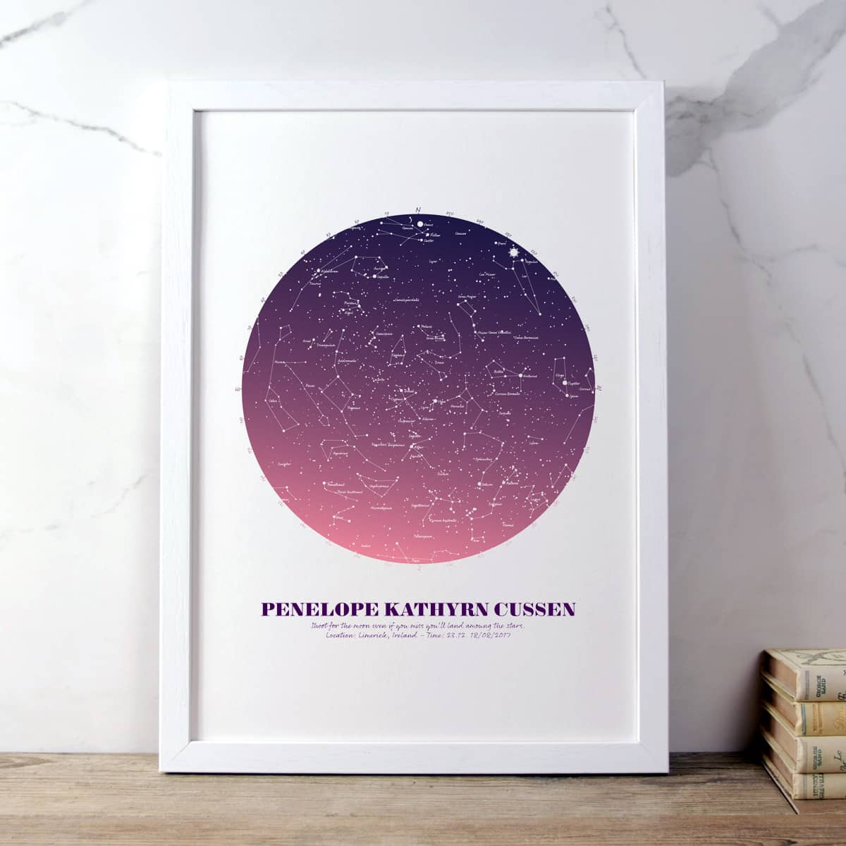 Personalised Star Map Gift Pink on White in white frame