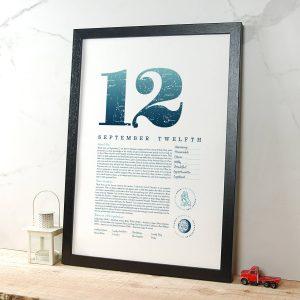 September 12th Birthday Print