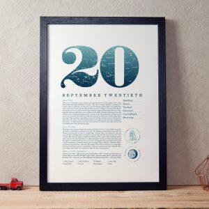 September 20th Birthday Print