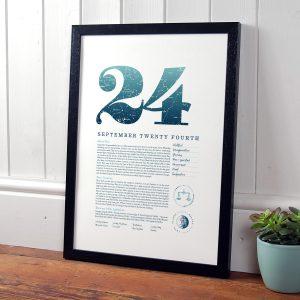 September 24th Birthday Print
