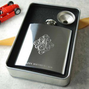 Vintage Silver Engraved Hip Flask