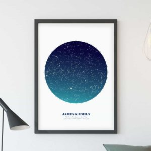 personalised map of the stars print large