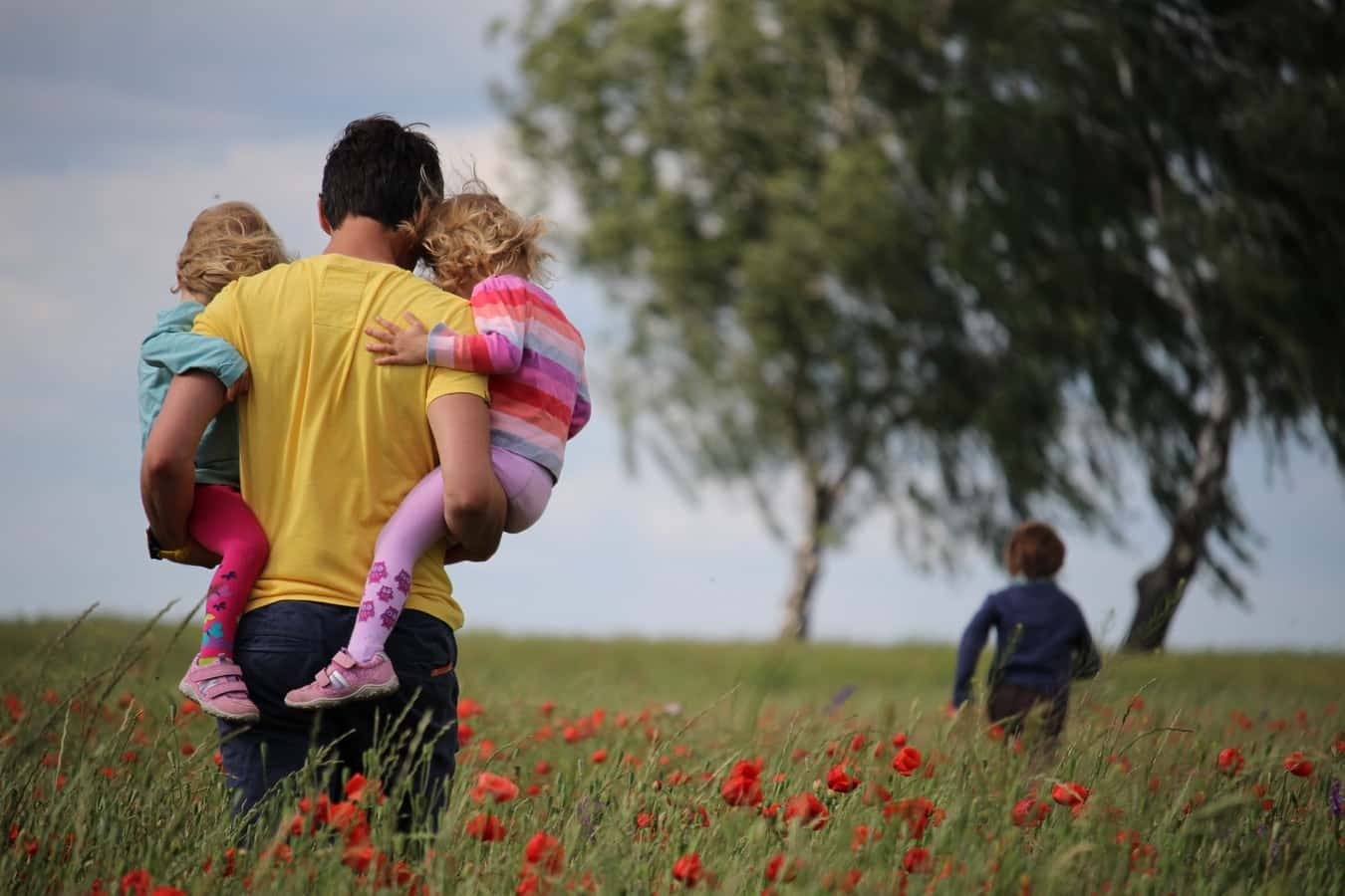 Family out in a field