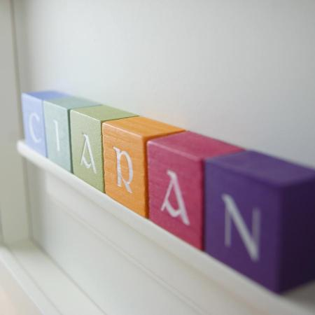 Christening Gift and Baby Gift Personalised ABC Frame for Boys Vintage Colours Close Up