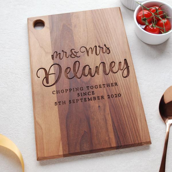 Personalised Wedding Anniversary Wood Chopping Board
