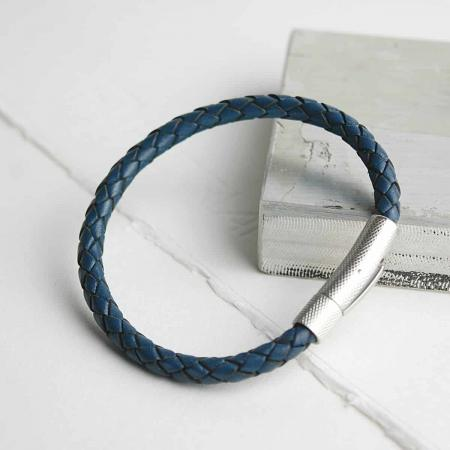 Blue-5mm-leather-bracelet-mens-gift