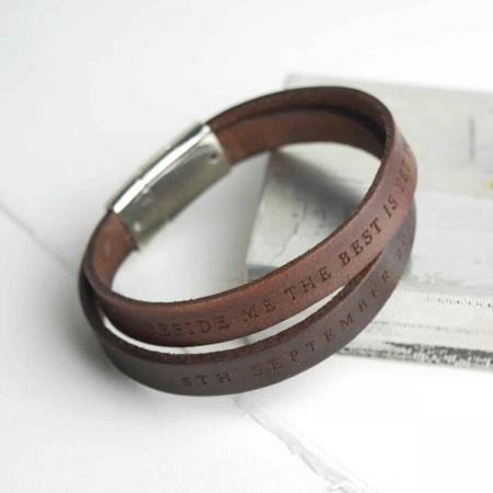 Brown-double-wrap-personalised-bracelet-mens-gift