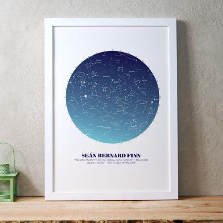 Personalised Star Map Gift Blue on White in white frame