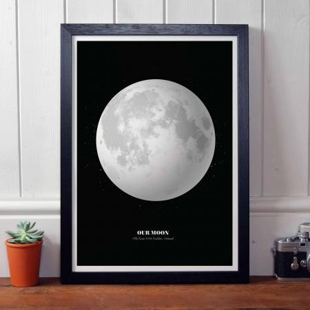 Personalised Print of the Moon in Black