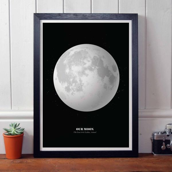 Personalised Print of the Moon in Black