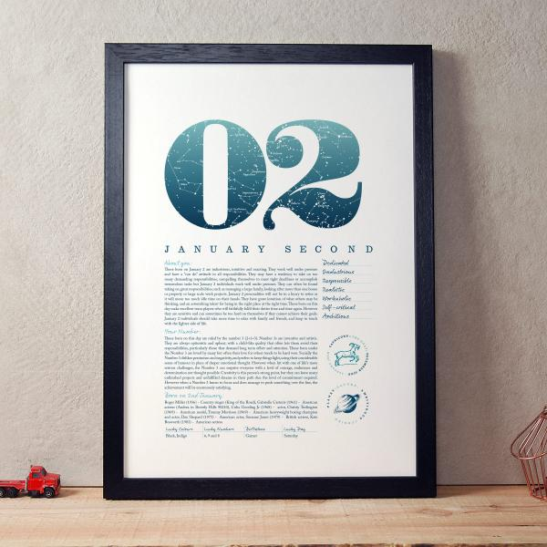 January 2nd Birthday Gift Print in Blue