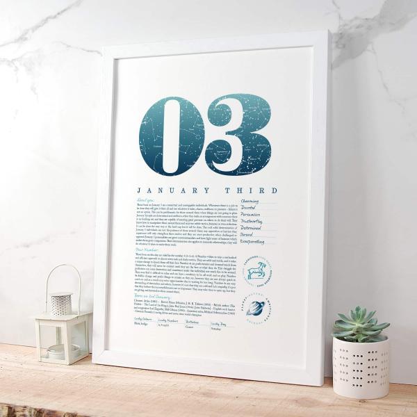 January 3rd Birthday Gift Print