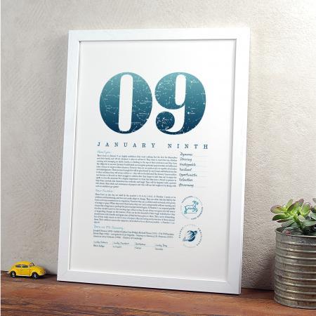 January 9th Birthday Print
