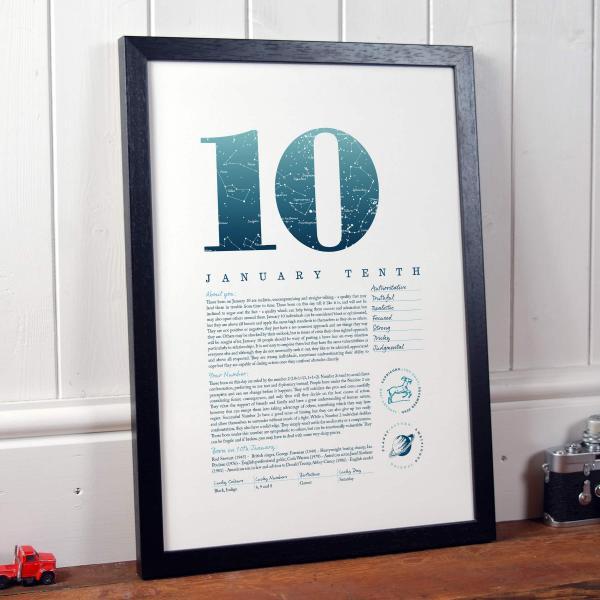 January 10th Birthday Print