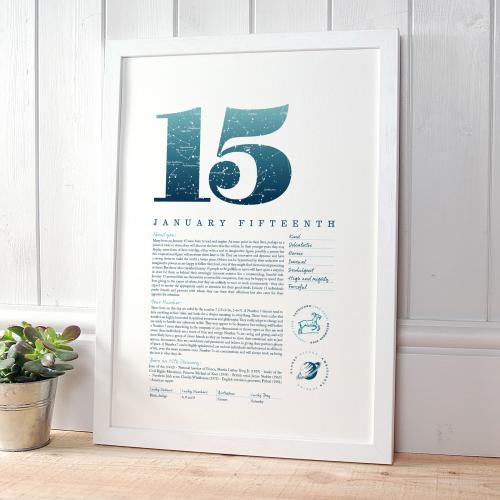 January 15th Birthday Print
