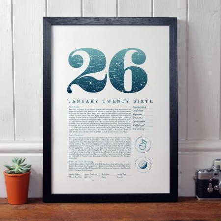 January 26th Birthday Print