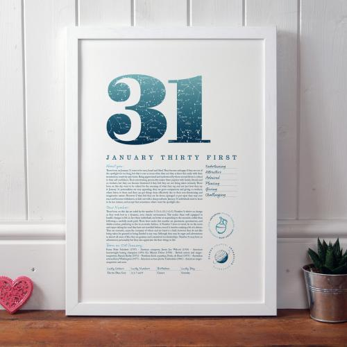 January 31st Birthday Print