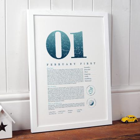 February 1 Birthday Gift Print in Blue