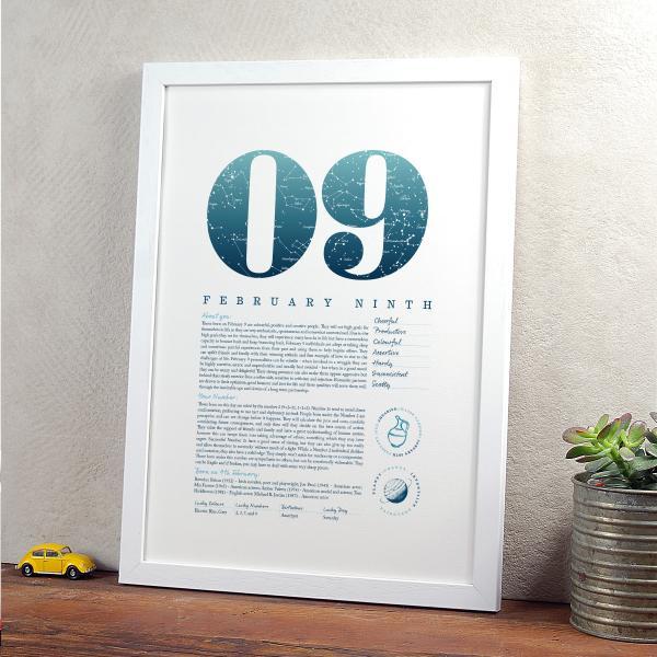 February 9th Birthday Print