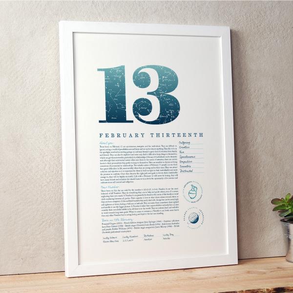 February 13th Birthday Print