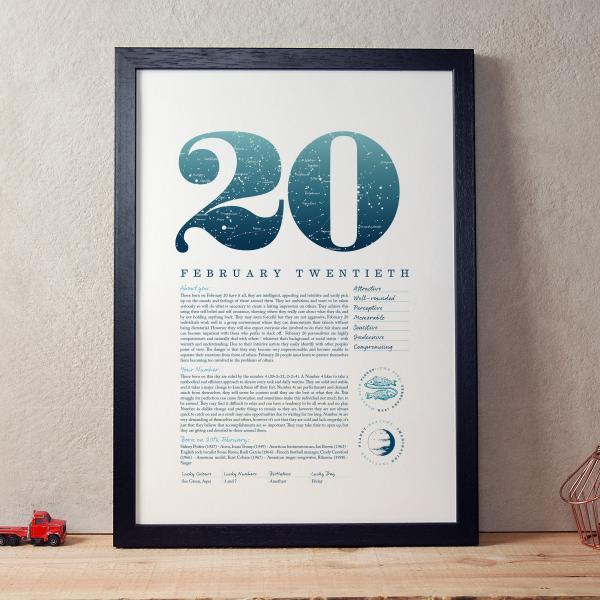 February 20th Birthday Print