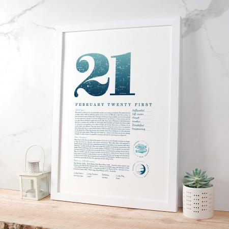 February 21st Birthday Print