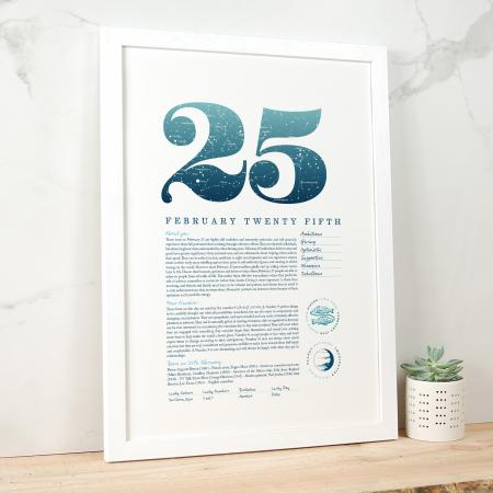 February 25th Birthday Print