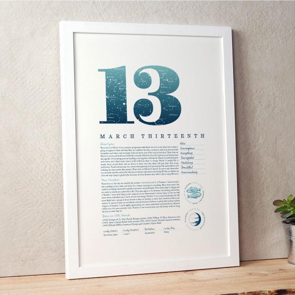 March 13th Birthday Print