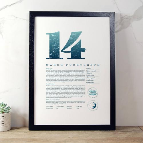March 14th Birthday Print