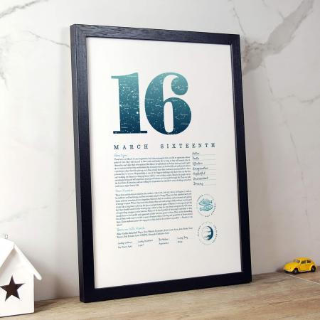 March 16th Birthday Print