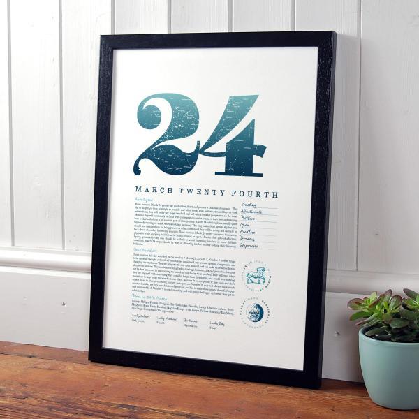 March 24th Birthday Print