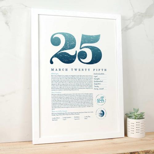 March 25th Birthday Print