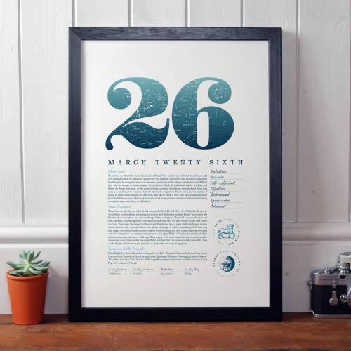 March 26th Birthday Print