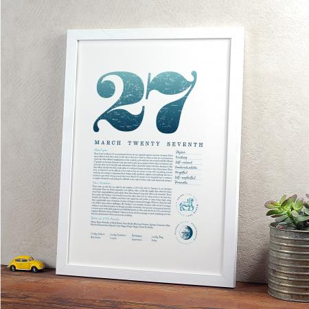March 27th Birthday Print