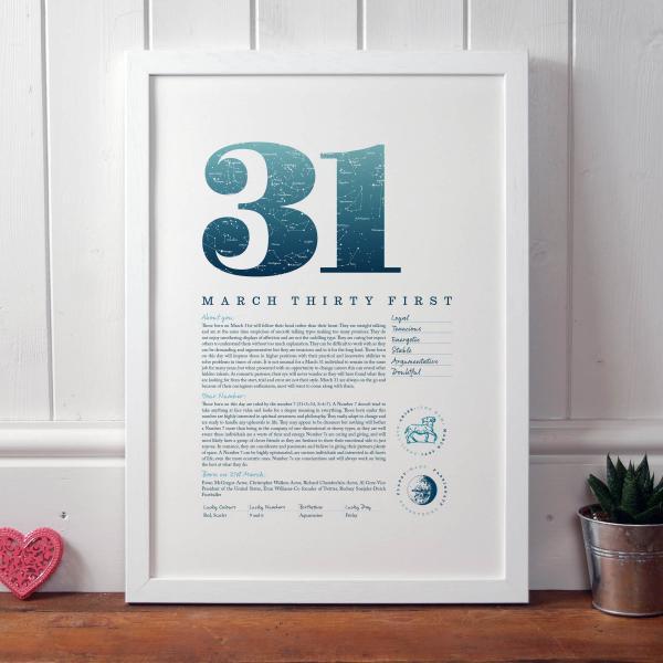 March 31st Birthday Print