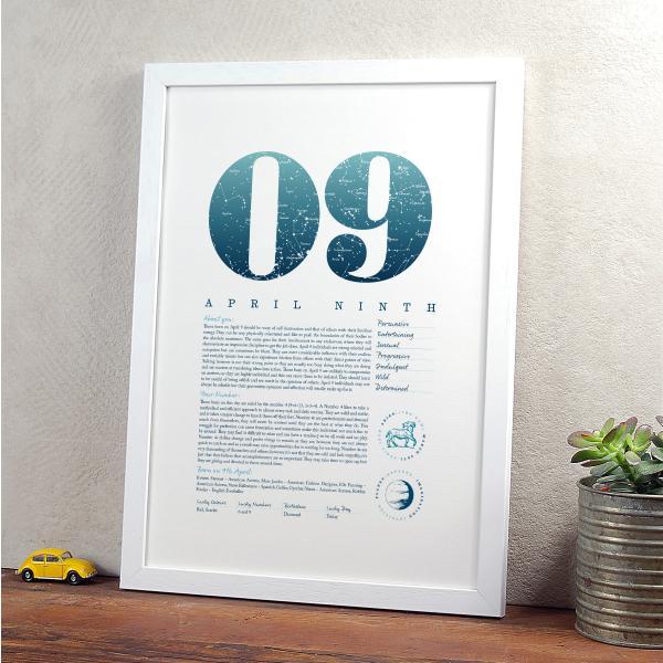 April 9th Birthday Print