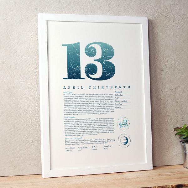 April 13th Birthday Print