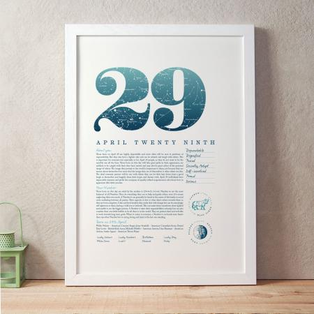 April 29th Birthday Print