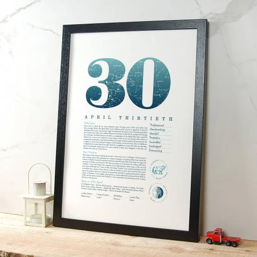 April 30th Birthday Print
