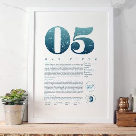 May 5th Birthday Print