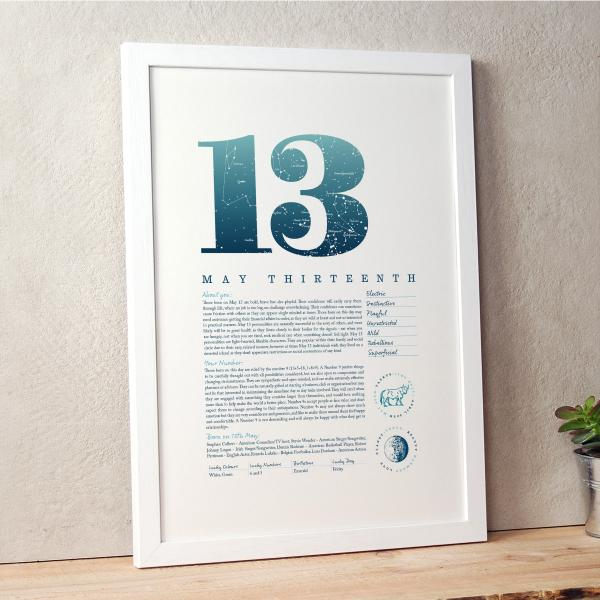 May 13th Birthday Print