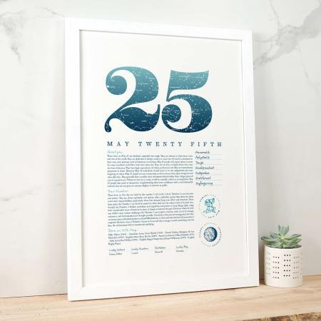 May 25th Birthday Print