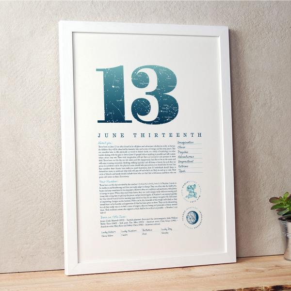 June 13th Birthday Print