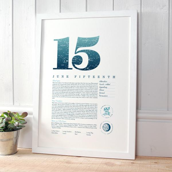 June 15th Birthday Print