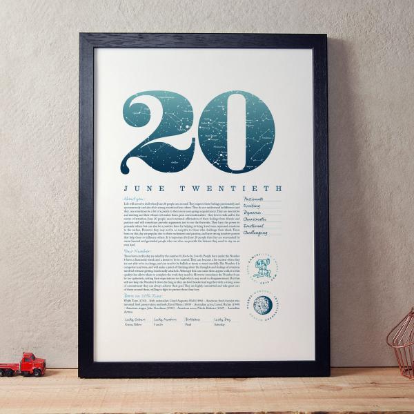 June 20th Birthday Print