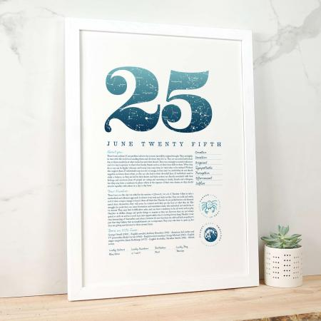 June 25th Birthday Print