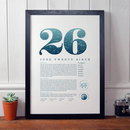 June 26th Birthday Print
