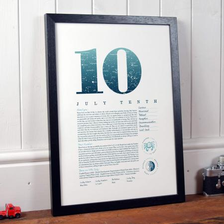 July 10th Birthday Print