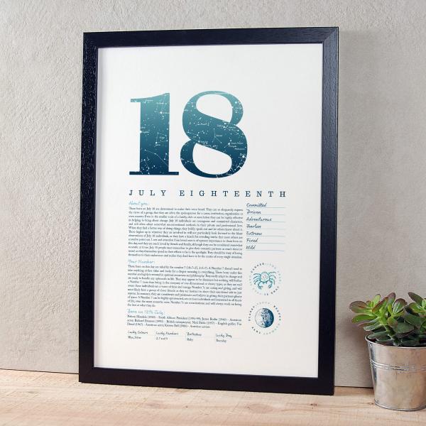July 18th Birthday Print