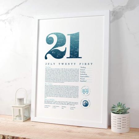 July 21st Birthday Print